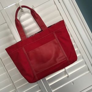 Lancome Large Red Canvas Tote Bag